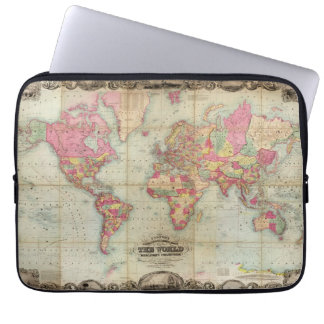De antiek Kaart van de Wereld door John Colton, Laptop Sleeve Hoesjes