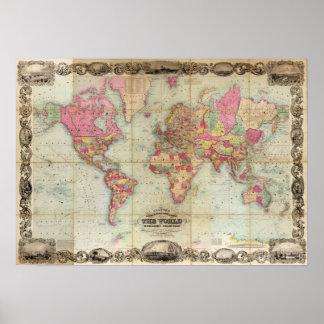 De antiek Kaart van de Wereld door John Colton, Poster