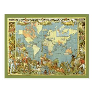 De antiek Kaart van de Wereld, Vintage Briefkaart