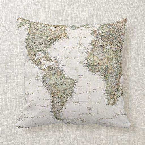 De antiek kaart van de wereld werpt hoofdkussen decoratie kussen zazzle - Thuis kussens van de wereld ...