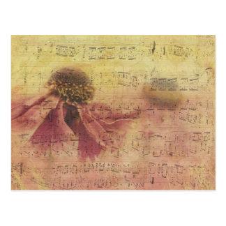 De antiek Muziek van het Blad en Romantische Bloem Briefkaart