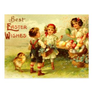 De antiek Nostalgische Kuikens van de Kinderen van Briefkaart