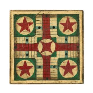 De antiek Raad van het Spel Parcheesi door Ethan Houten Onderzetter