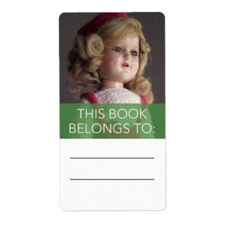 De antiek Rode Sticker van Bookplate van Doll van