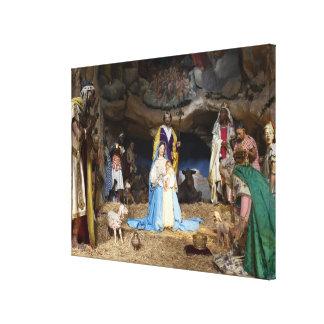 De antiek Scène van de Geboorte van Christus van Canvas Afdruk