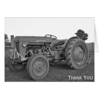 De antiek Tractor in Zwart-wit dankt u kaardt Briefkaarten 0