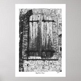 De Antigua van Ventana van Dibujo/Oud Venster Poster