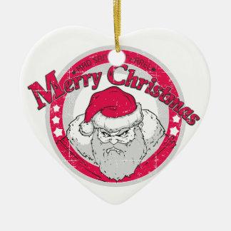 De AOB Santa Keramisch Hart Ornament