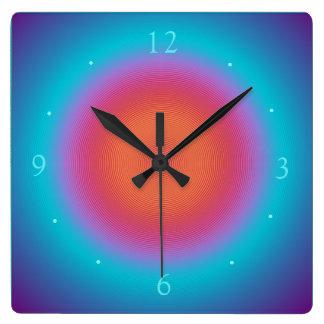De Aqua Verlichte Oranje Roze Klokken van het Vierkante Klok