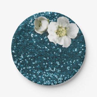 De aquatische Blauwe Witte Jasmijn van Tiffany Papieren Bordjes