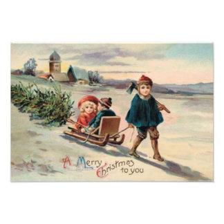 De Ar van de Slee van de Kerstboom van kinderen Foto Prints