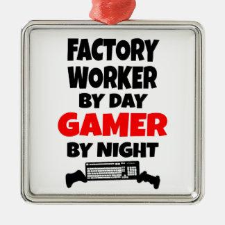 De Arbeider Gamer van de fabriek Zilverkleurig Vierkant Ornament