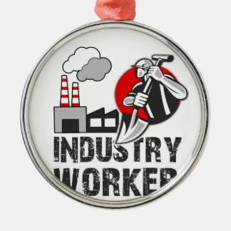 De arbeider van de industrie zilverkleurig rond ornament