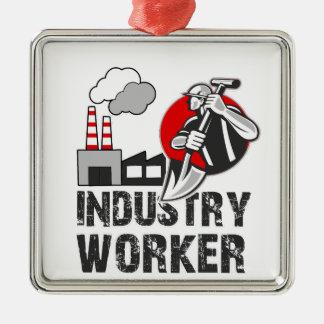 De arbeider van de industrie zilverkleurig vierkant ornament