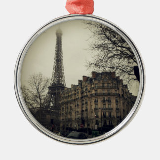 De Architectuur van de Bouw van de Stad van Parijs Zilverkleurig Rond Ornament