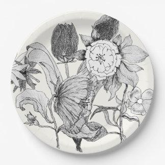 De artistieke Bloemen Getrokken Bloemen van het Papieren Bordje