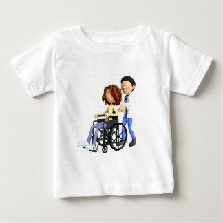 De Arts die van de cartoon Patiënt in Rolstoel Baby T Shirts