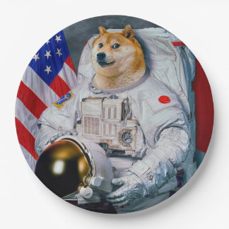 De astronaut-doge van de doge hond-leuke doge papieren bordje