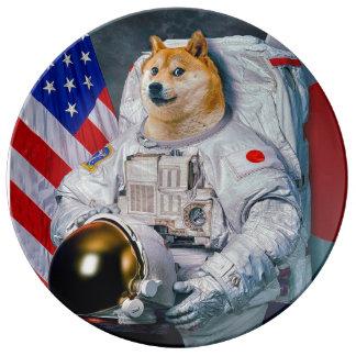 De astronaut-doge van de doge hond-leuke doge porseleinen bord