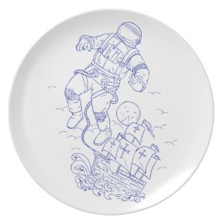 De astronaut Gebonden Tekening van het Schip Melamine+bord