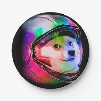 De astronaut-kleurrijke hond van de doge - papieren bordje