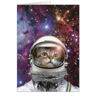 De astronaut van de kat - gekke kat - kat kaart