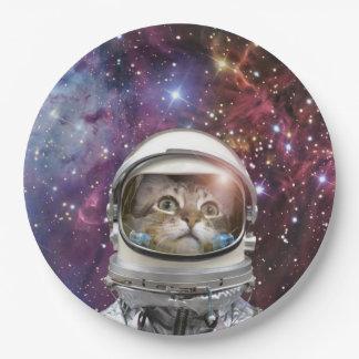 De astronaut van de kat - gekke kat - kat papieren bordje