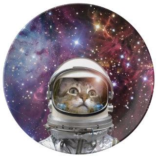 De astronaut van de kat - gekke kat - kat porselein bord