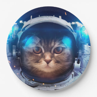 De astronaut van de kat - katten in ruimte - papieren bordje