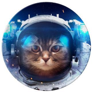 De astronaut van de kat - katten in ruimte - porselein bord