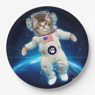 De astronaut van de kat - ruimtekat - de minnaar papieren bordje
