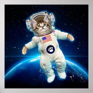 De astronaut van de kat - ruimtekat - de minnaar poster