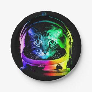 De astronaut van de kat - ruimtekat - grappige papieren bordje