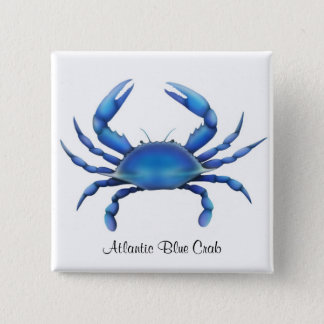 De Atlantische Blauwe Speld van de Krab Vierkante Button 5,1 Cm