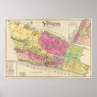 De atlas van de kaartYonkers van de index Poster