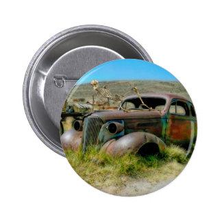 De auto van de begraafplaats ronde button 5,7 cm