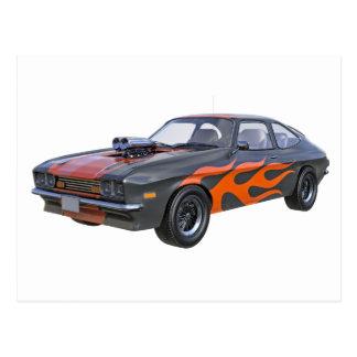 de Auto van de jaren '70Spier in Oranje Vlammen en Briefkaart