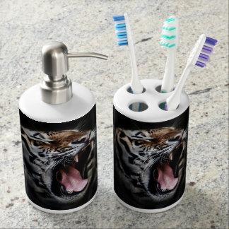 De Automaat van de Zeep van de tijger en de Houder Badkamer Set