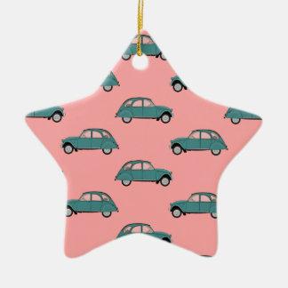 De Auto's van Citroën 2CVs - Groen op Roze - Keramisch Ster Ornament