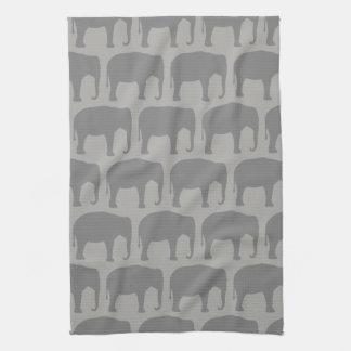 De Aziatische Olifant silhouetteert Patroon Theedoek