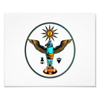 de Azteekse duidelijke oranje blauwe symbolen van  Fotografische Afdruk