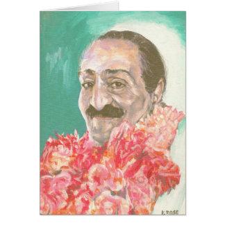 De Baba van Meher met bloemen Kaart