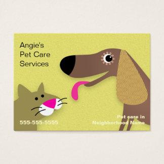 De Babysitter van het huisdier - Gele Hond & Kat Visitekaartjes