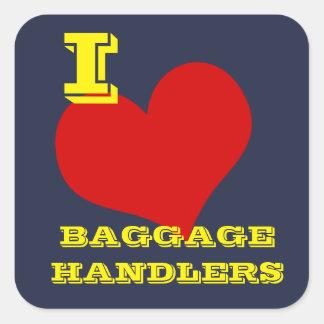 """De Bagage van de Bagage van de Liefde van I """"van Vierkante Sticker"""
