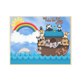 De Bak van Noahs van Dieren Twee door de Grote Stretched Canvas Afdruk
