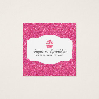 De bakkerij & de Catering schitteren (Roze) Vierkante Visitekaartjes