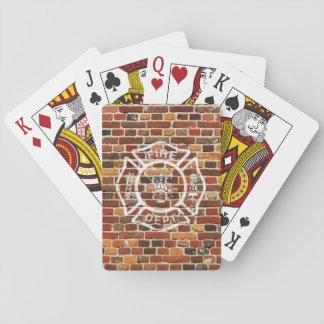 De Bakstenen muur van het Logo van de Pokerkaarten