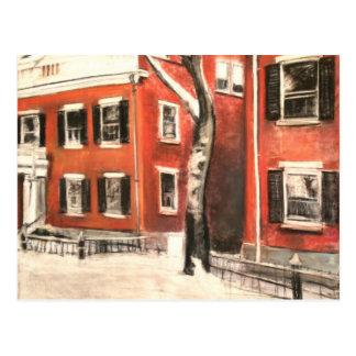 De Bakstenen van Nantucket in de Winter Briefkaart