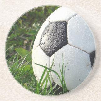 De Bal van de Voet van Soccer~ op gebied Zandsteen Onderzetter