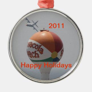 De Bal van het Strand van Pensacola Zilverkleurig Rond Ornament